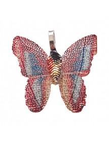 Pandantive electroplacate fluture aripi bleu rosu 27x30mm