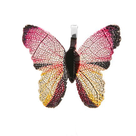 Pandantive electroplacate fluture aripi fucsia 27x30mm