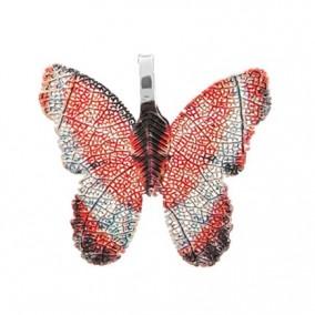 Pandantive electroplacate fluture aripi oranj argintiu 27x30mm