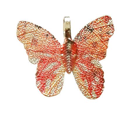 Pandantive electroplacate fluture aripi oranj auriu 27x30mm