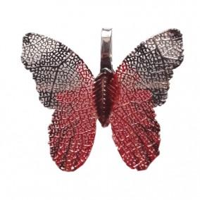 Pandantive electroplacate fluture aripi rosu negru 27x30mm