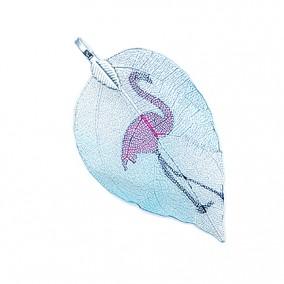 Pandantive electroplacate frunza nervuri bleu flamingo 65x35mm