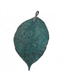 Pandantive electroplacate frunza nervuri bronz antic 80x45mm