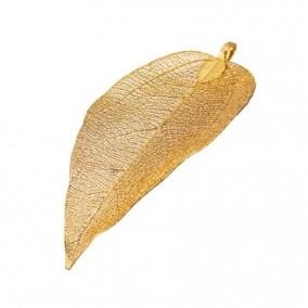 Pandantive electroplacate frunza nervuri galben auriu 65x35mm