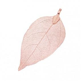 Pandantive electroplacate frunza nervuri roz 65x35mm