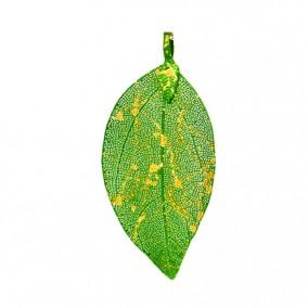 Pandantive electroplacate frunza nervuri verde cu auriu 80x40mm