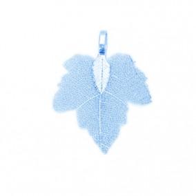 Pandantive electroplacate frunza vita albastru 35x27mm