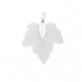 Pandantive electroplacate frunza vita argintiu 35x27mm