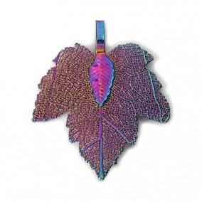 Pandantive electroplacate frunza vita curcubeu 35x27mm