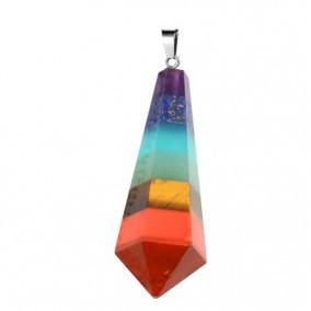 Pandantiv 7 chakra piramida fatetata 50x10mm