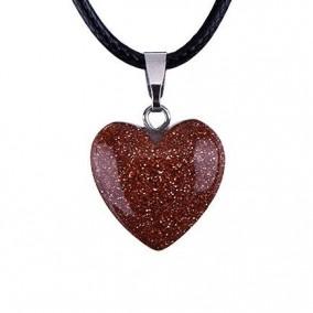Pandantiv inima piatra soarelui aurie 18mm