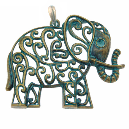 Pandantiv verdigris patina elefant 60mm