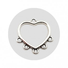 Accesorii metalice argintii candelabru inima 15x13mm