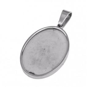 Baza pandantiv inox cabochon oval 25x18mm