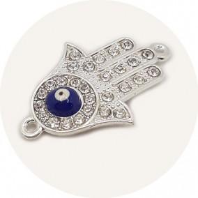 Margele metalice link argintiu mana Fatima ochi albastru 35x22mm