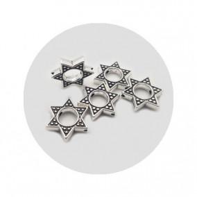 Accesorii metalice argintii margele cadru stea 15x15mm