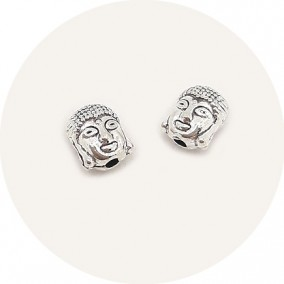 Accesorii metalice argintii margele distantiere Buddha 8x6mm