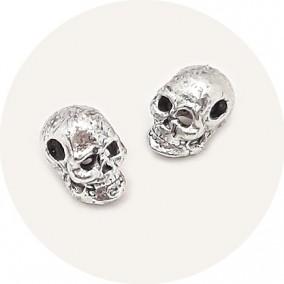Accesorii metalice argintii margele distantiere craniu 6x5x5mm