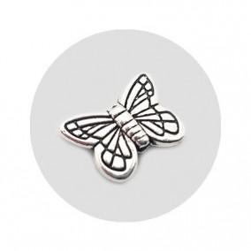Accesorii metalice argintii margele fluture 15x10mm