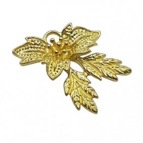Accesorii aurii charm frunza 22x20mm