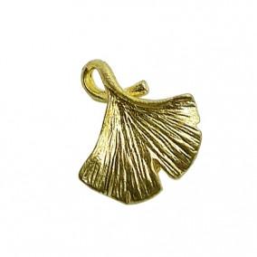 Accesorii aurii charm frunza ginkgo biloba 15x13mm