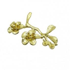 Accesorii aurii decor crenguta cu flori 28mm