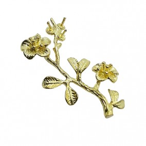 Accesorii aurii decor crenguta cu flori 30mm