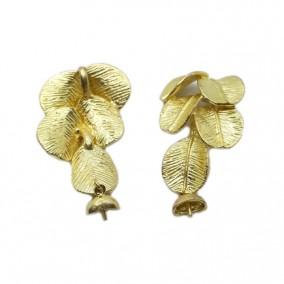 Accesorii aurii pandantiv frunze ficus 45x25mm