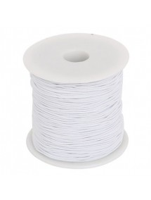 Elastic textil rotund 1mm alb 100m