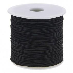 Elastic textil rotund 1mm negru 100m
