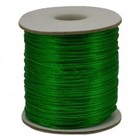 Snur satin verde crud rotund 3mm rola 80m