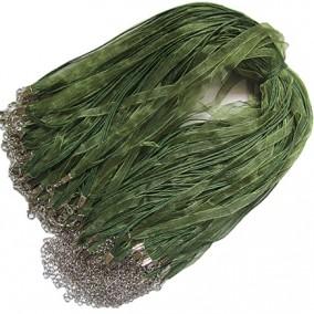 Baza colier organza bumbac cerat verde oliv 45 cm