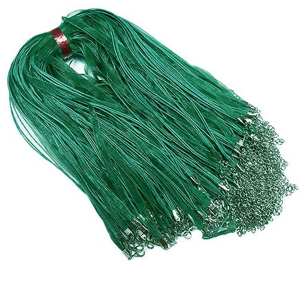 Baza colier organza bumbac cerat verde smarald 45cm