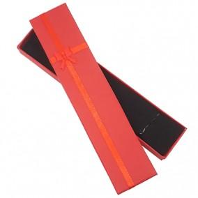 Cutie cadou bratara carton rosu funda satin 21x4,5x2,5cm
