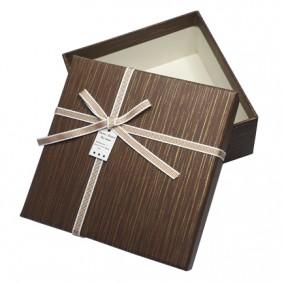 Cutie pentru cadou bronz cafeniu 13x13x5cm