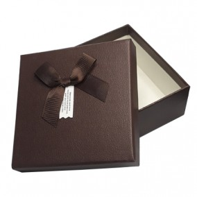 Cutie pentru cadou imitatie piele ciocolata 13x13x5cm