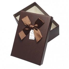Cutie pentru cadou imitatie piele ciocolata 13x9x5cm