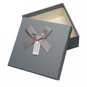 Cutie pentru cadou imitatie piele gri 13x13x5cm