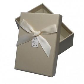 Cutie pentru cadou imitatie piele ivoire 13x9x5cm