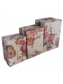 Set cutii cadou motive florale 3 bucati crem 14x10x8cm