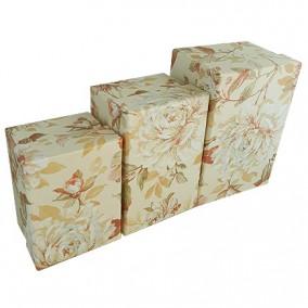 Set cutii cadou motive florale 3 bucati galben 14x10x8cm