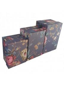 Set cutii cadou motive florale 3 bucati mov 14x10x8cm