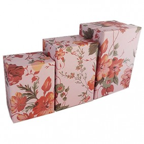 Set cutii cadou motive florale 3 bucati roz 14x10x8cm