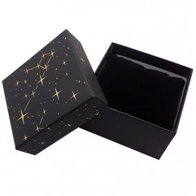 Cutie cadou bratara ceas neagra stele aurii 9x8,5x5cm