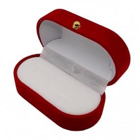 Cutie cadou catifea rosie ovala pentru verighete 7x4x3cm