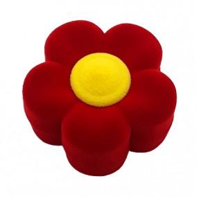 Cutie cadou catifea rosie pentru inel floare 6x3cm