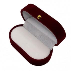 Cutie cadou catifea visinie ovala pentru verighete 7x4x3cm