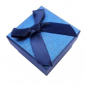 Cutie cadou inel albastra funda satin 5x5x3.5cm