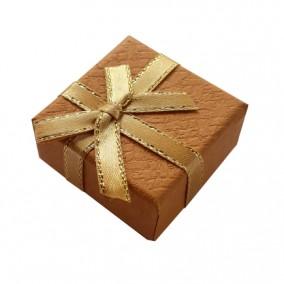 Cutie cadou inel bej funda satin fir auriu 4x4x2.5cm