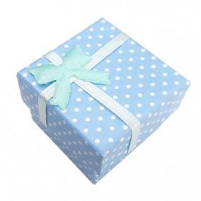 Cutie cadou inel bleu buline 4x4x3cm